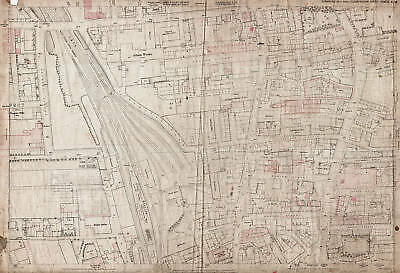 Railway Station area 1890 Cleckheaton old / vintage map 232-5-23