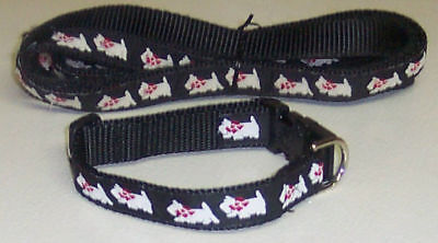 Westie Collar&leash Set Black Traditional Free Ship Usa
