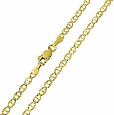"14K Solid Real Yellow Two Tone Gold White Pave Mariner Chain 2.7mm 16"" ( 3/32"")"