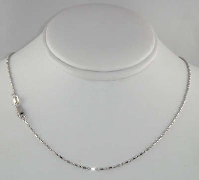 "14K Solid Real White Gold Diamond Cut Bead Bar Chain Necklace 1.2mm 18"" Women"