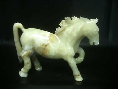 "Marble Onyx Champagne Colour Horse Sculpture Mantelpiece 11"" X 16"" Gift Item"