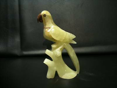 """Marble Onyx Champagne Parrot Sculpture  - 10""""x 5"""""""
