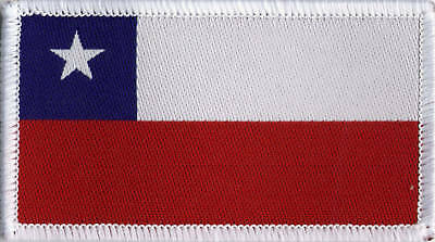 Chilean Flag Woven Badge, Patch 8cm x 4.5cm