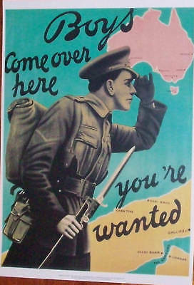 Ww1 Aussie Recruiting Poster - You're Wanted  A3 Size