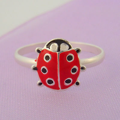 Sterling Silver Ladybug Ladybird Ring Size K / Us 5.5