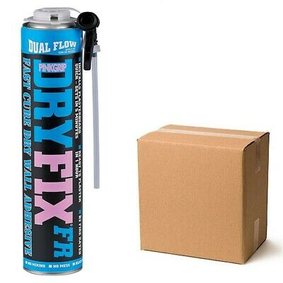 Everbuild Pinkgrip Dry Fix Plasterboard Foam Installation Adhesive Can Box of 12