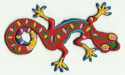 Ecusson Patche Thermocollant Lezard Salamandre Rouge Multicolore Dim. 9,5X6,5C