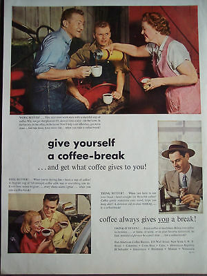 1952 Pan-American Coffee take a coffee-break vintage ad