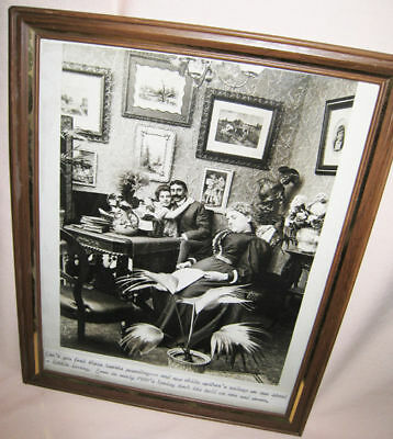 "Fun! VICTORIAN Photo DATING COUPLE with Sleeping Mom! FRAMED 8"" X 10"""