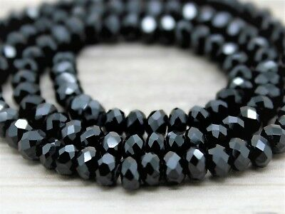 """Premium Quality SPINEL BLACK 2.5-3mm Micro FACETED Rondelle 14.5"""" str -  No S&H"""