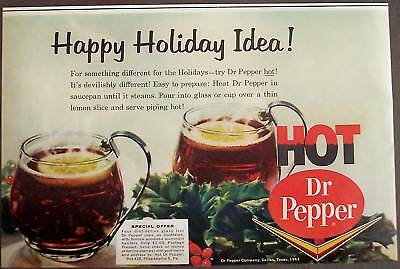 1963 Hot Dr. Pepper soda for the Holidays vintage ad