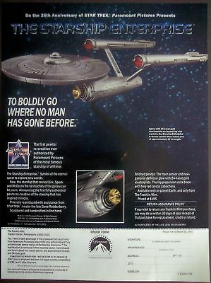 1992 Starship Enterprise pewter replica STAR TREK vintage ad