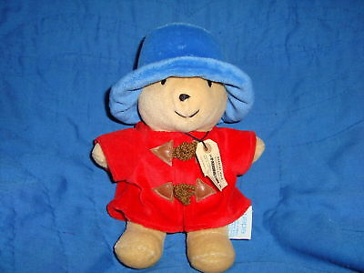 "Paddington Bear Plush Eden Toys 9"" Teddy Bear red coat blue hat"