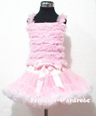 Light Pink White Pettiskirt with Pink Ruffles Top Shirt Set Cloth For 1-8Year