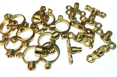 28mm Brass Munsen Rings + Brass Backplates Pack of 10 Single Ring Pipe Fixings