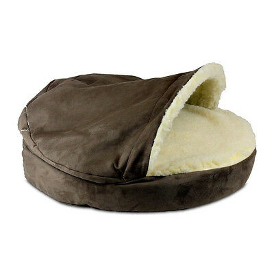 Dog Pet Bed Luxury Cozy Cave Covered Hot Fudge Mono $10 Addl.