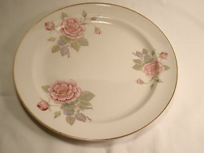 "Paden City Pottery 9 3/8"" Rimmed Dinner Plate Roses, Leaves and Gold Trim"