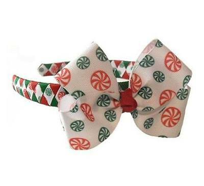 Peppermint Candy Boutique Hair Bow on Woven Headband