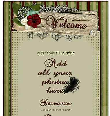 Scrapbook Romance AUCTION TEMPLATE rose lace stripes FLORAL prints EASY to Use