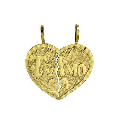 14K Solid Yellow Gold Te Amo Heart Split Charm Pendant