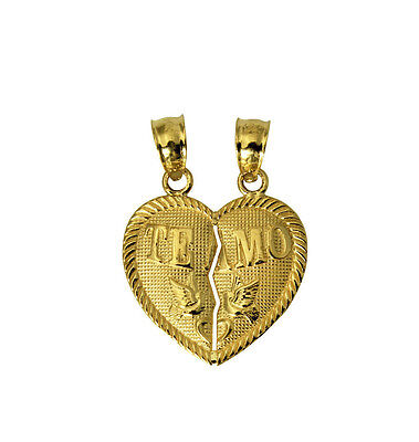 14K Solid Yellow Gold Te Amo Small Heart Split Breakable Broken Charm Pendant