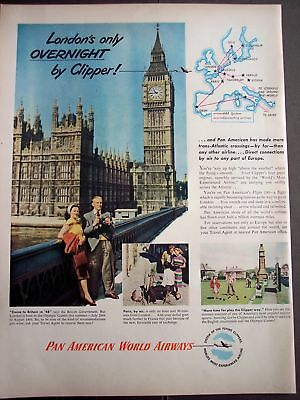 1948 Pan American fly to London England vintage ad