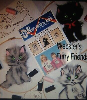 Webster Craft Brushed Cats Punch Needle embroidery kit with yarns