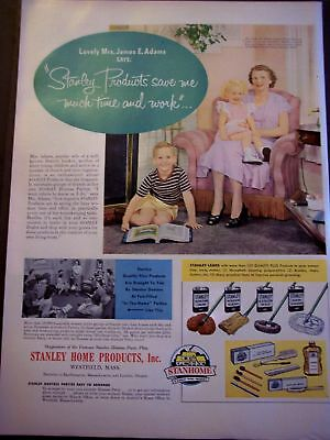 1950 Stanley Home Products Mrs Adams & kids vintage ad