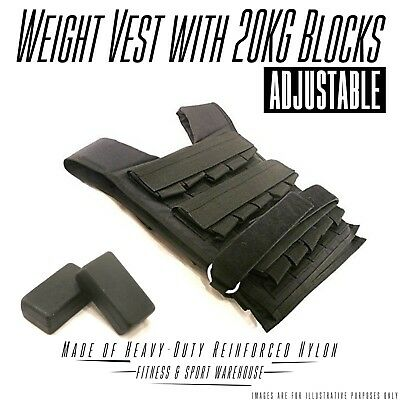 NEW Adjustable Weight Vest with 20KG Blocks Fitness Gym Equipment Exercise Gear