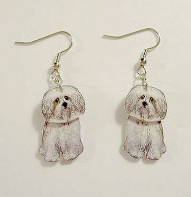 Havanese 3D Dangle Earrings Handcrafted Plastic Made in USA