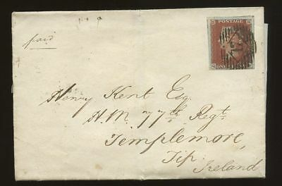 IRELAND 1845 PENNY RED IMPERF Pl.60 on COVER TEMPLEMORE