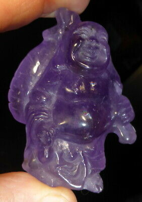 NATURAL FINE QUALITY AMETHYST LAUGHING WEALTH BUDDHA CARVING 2.7 inch x 2 inches