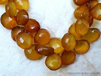 Citrine CHALCEDONY 11-13mm (5 Faceted Hearts) 34Carats