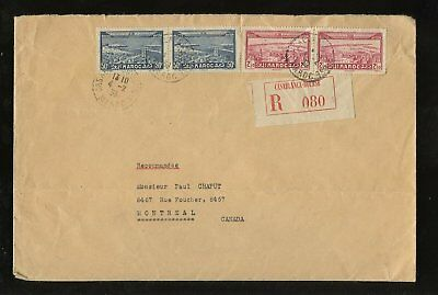 MOROCCO 1939 REGIST.COVER 4 stamps franking to MONTREAL