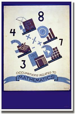 Occupations Related to Math - Vintage Print POSTER