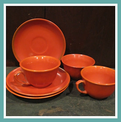 6pc Vintage Red Orange Cup / Saucer Catalina Pottery