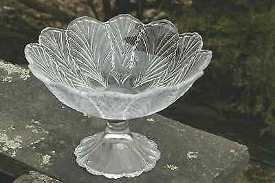 """Large L E Smith Clear Glass 11"""" Flared Plume Leaf Pedestal Compote Bowl Exc Cond"""