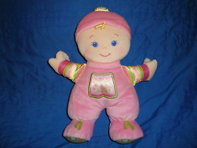 """Fisher Price Plush Pink Baby Rattle Doll 2008 11"""""""