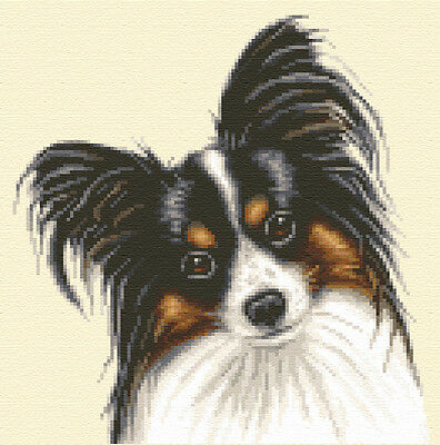PAPILLON dog, puppy ~ complete counted cross stitch kit