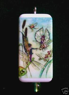 Dragonfly's And Fairies, Bees Too - Domino Pendant