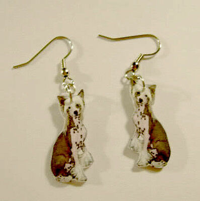 Chinese Crested Dog Earrings Handcrafted Plastic Made in USA