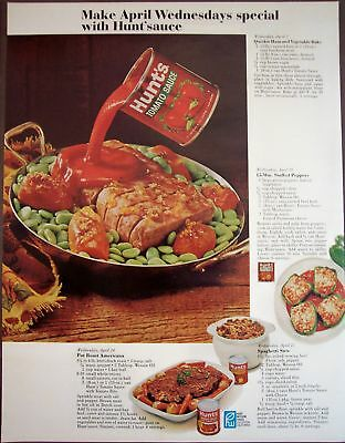 1968 Hunt's Tomato Sauce stuffed peppers recipe Food Ad