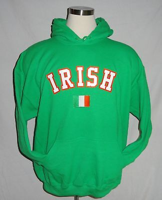 Green Irish Hoodie Small Embroidered Hooded Sweatshirt