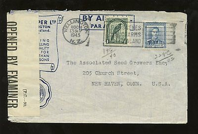 NEW ZEALAND 1943 WW2 CENSOR COVER to USA...COOPER SEEDS