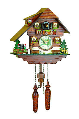 Original cuckoo clock - Black Forest Chalet - turning dancers- Made in Germany