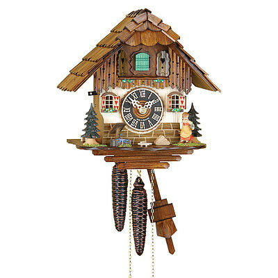 New German made cuckoo clock -  Black Forest Chalet - mechanical 1 day movement