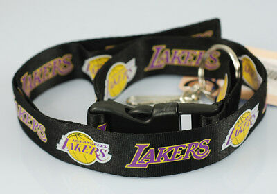 "NBA ""Los Angeles Lakers"" Lanyard Keychain Black Yellow"