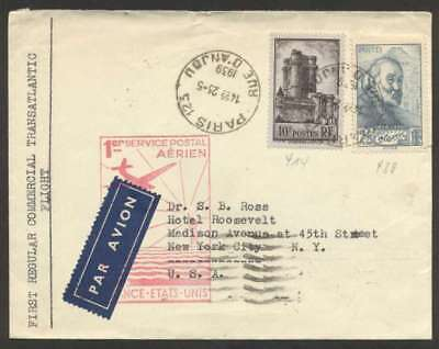 France To USA First Flight Cover 1939 w 2 Colour Stamps L@@K