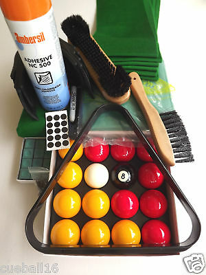 RECOVERING CLOTH / SERVICE,Balls,Chalk KIT FOR all 7ft -7x4 ENGLISH POOL TABLES
