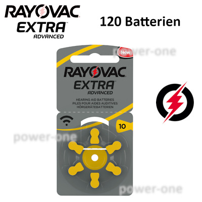 120 x Hörgerätebatterien Typ 10 Rayovac Extra Advanced  5,85 x 3,6mm